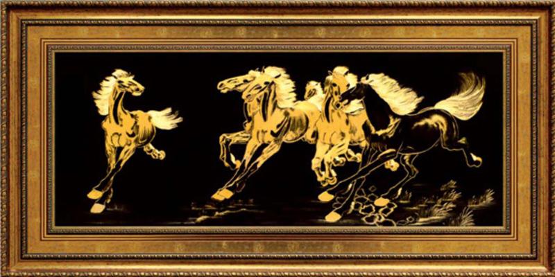 Tranh ngựa mạ vàng 24k, Tranh ngựa, tranh ngựa 2014