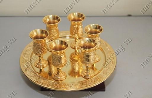 Quà tặng tân gia cao cấp: bộ ly mạ vàng 24k