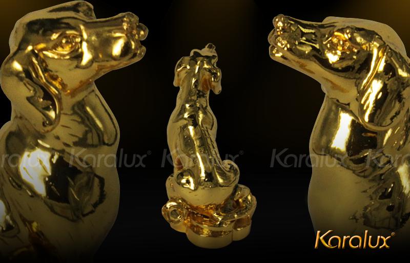 Tượng Phong Thủy tuổi TUẤT đúc bằng đồng mạ vàng 24k trấn trạch hóa giải sát khí