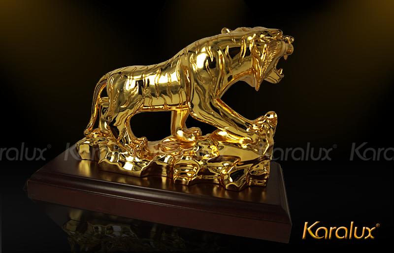 Ho Phong Thuy MA VANG 24K |Tượng Hổ đúc đồng Mạ Vàng 24k dát vàng 9999