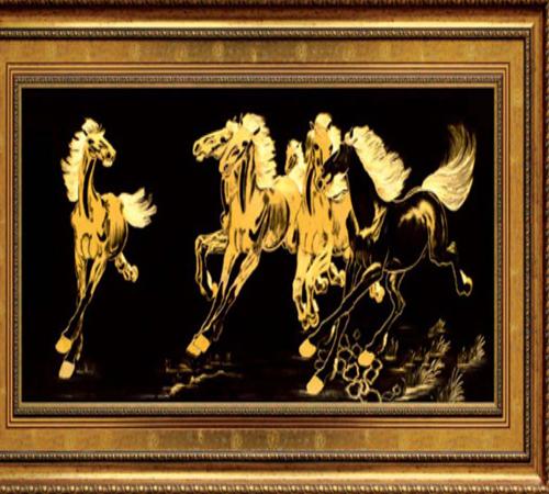 Tranh ngựa mạ vàng 24k, tranh phong thủy