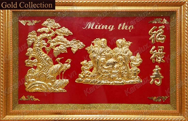 Tranh mừng thọ mạ vàng, tranh mạ vàng 24k, tranh mừng thọ, quà tặng mừng thọ, tranh mung tho ong ba