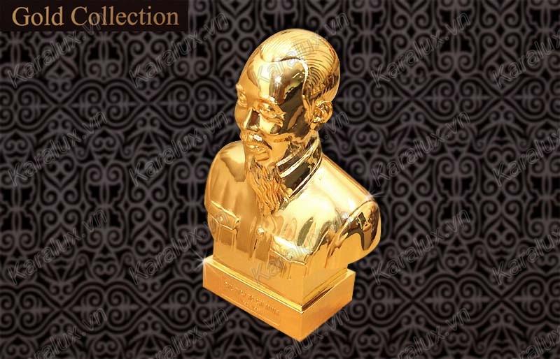 tượng bác hồ mạ vàng, tượng chân dung Bác, tược Bác bán thân mạ vàng 24k