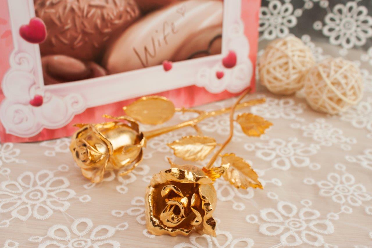 hoa hong ma vang 24K, bông hồng dát vàng