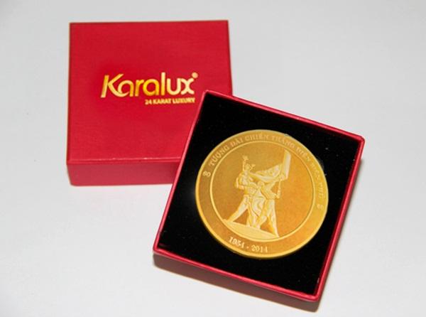 Đồng tiền LỘC KIM-tượng đài Điện Biên Phủ mạ vàng 24K |Loc kim Dien Bien Phu