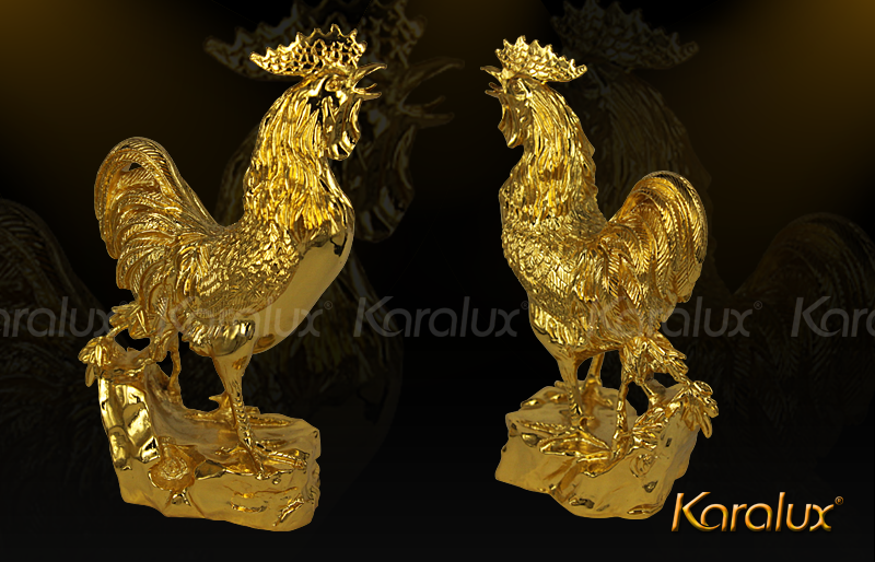 Linh vật gà trống phong thủy mạ vàng 24k hút tài lộc|Ga Phong Thuy Duc Dong dát vàng 9999