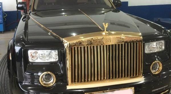 rolls royce phantom, siêu xe mạ vàng, xe mạ vàng 24k