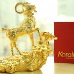Cách trưng bày linh vật Dê phong thủy mạ vàng tài lộc