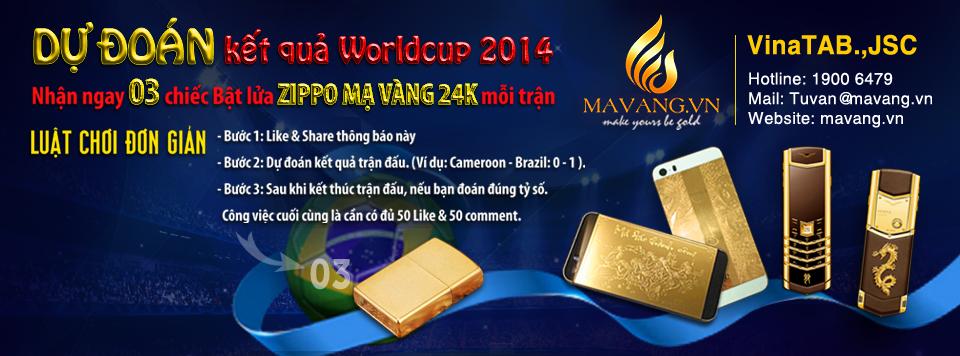 Thông tin giải thưởng dự đoán Tỷ số các trận đấu WORLD CUP 2014