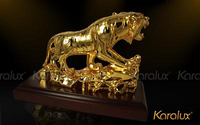 Tượng hổ mạ vàng 24k | quà tặng độc đáo biếu sếp | mavang.vn
