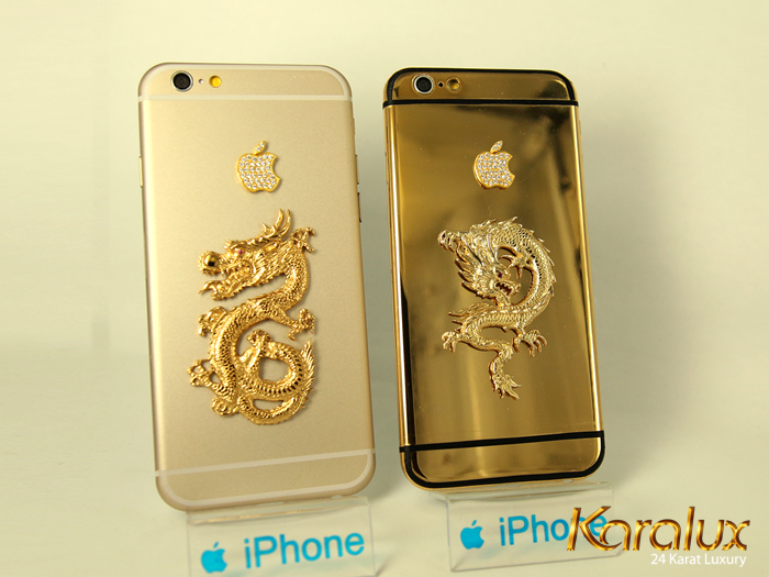 ip6 ma vang 24k | iPhone 6 đúc rồng vàng nguyên khối