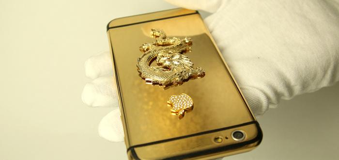 ip6 ma vang 24k   iPhone 6 đúc rồng vàng nguyên khối