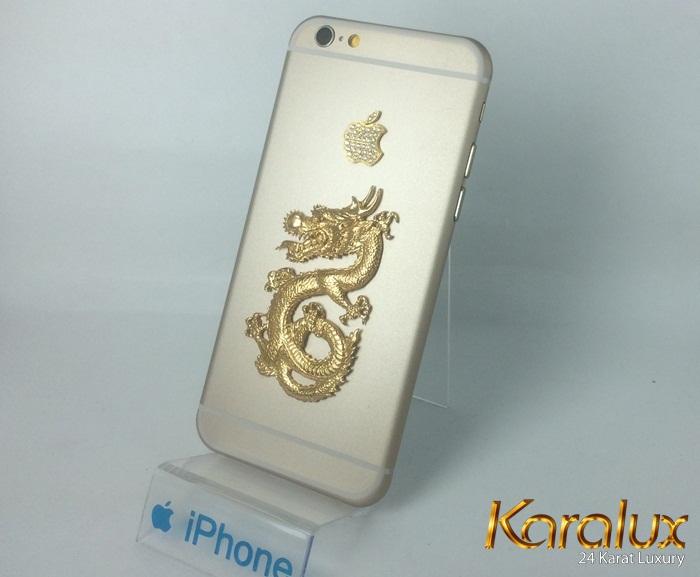 iPhone 6 mạ vàng 24K đúc rồng vàng nguyên khối