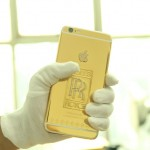 iPhone 6 plus version with monolithic gold-casted and diamond-stuck Rolls-Royce logo