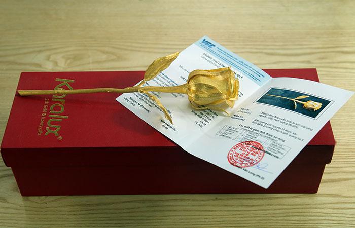 Bong hong duc vang nguyen khoi, hoa hồng mạ vàng 24K