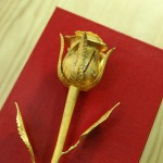 Gold-casting Rose with diamonds