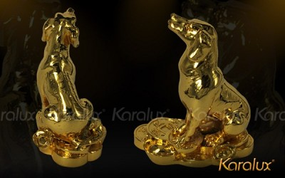 Tượng chó phong thủy mạ vàng 24K trấn trạch giảm sát khí