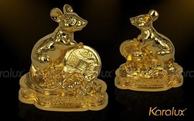 Tượng chuột, Chuột mạ vàng, Chuột phong thủy, Mạ vàng 24k