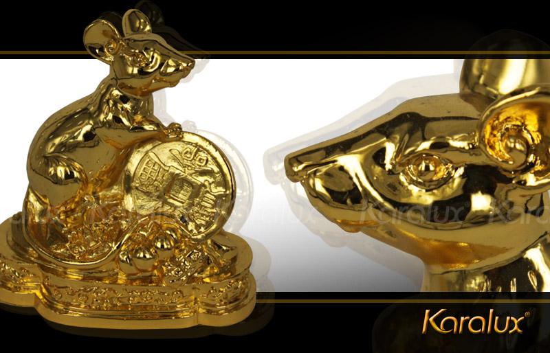 Tượng chuột phong thủy mạ vàng 24K cho người tuổi Tý