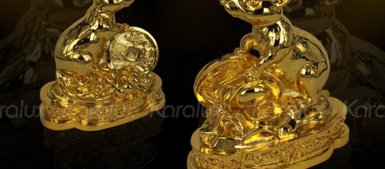 Tuong Chuot Phong Thuy | Linh vật Chuột phong thủy mạ vàng 24K cho người tuổi TÝ 2016