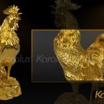 Tượng gà phong thủy mạ vàng bởi Karalux