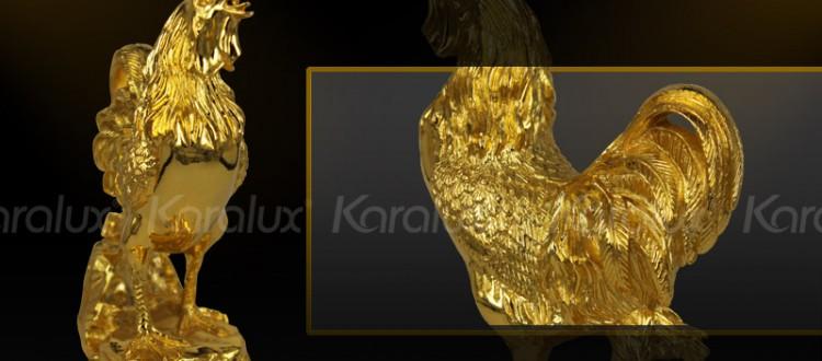 Tượng Gà trống phong thủy mạ vàng 24K