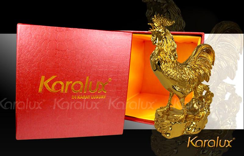 Tượng gà phong thủy, linh vật gà trống mạ vàng Karalux
