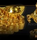 Tượng ngựa phong thủy mạ vàng 24K cỡ đại