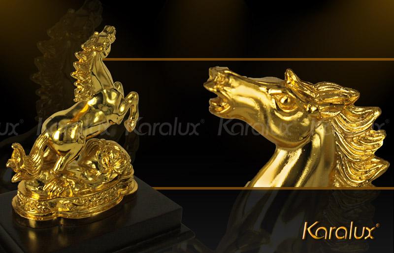 Ngua phong thuy, tượng ngựa phong thủy mạ vàng 24K