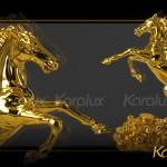 Quà tặng độc đáo Tượng Ngựa Phong thủy mạ vàng