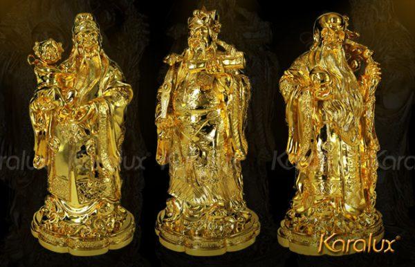 Bộ tượng 3 ông Tam Đa – Phúc Lộc Thọ mạ vàng 24K