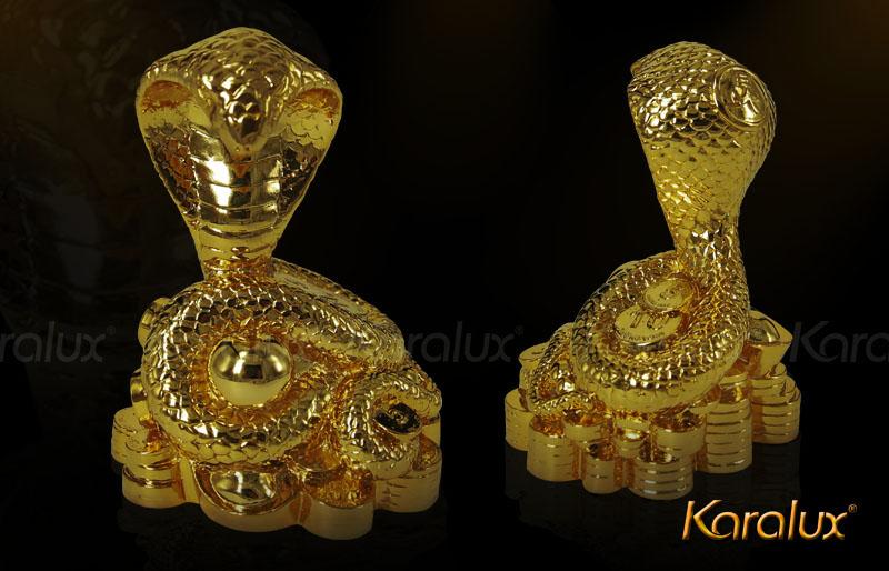 Tượng rắn phong thủy mạ vàng 24K bởi Karalux
