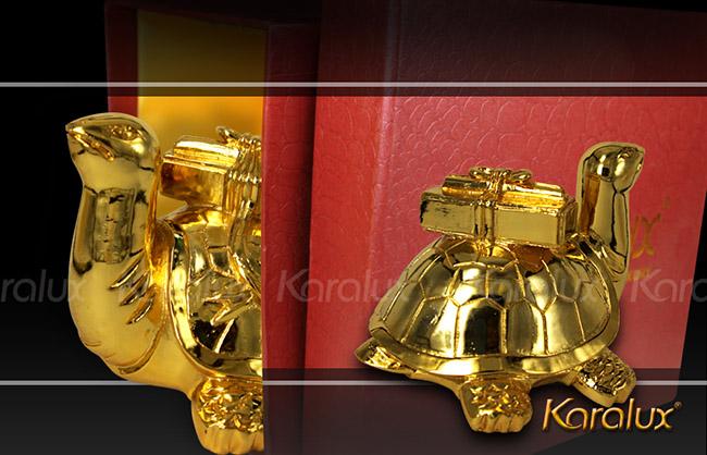 Rùa Cõng Sách Bằng Đồng Mạ Vàng 24K