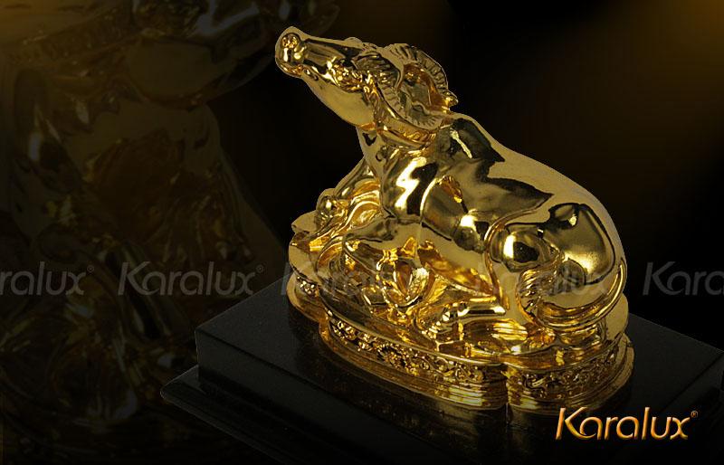 trau phong thuy, trâu phong thủy, Tuong trau phong thuy, tượng trâu phong thủy mạ vàng 24K