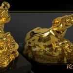 Linh vật Trâu phong thủy đúc đồng mạ vàng làm quà tặng ý nghĩa