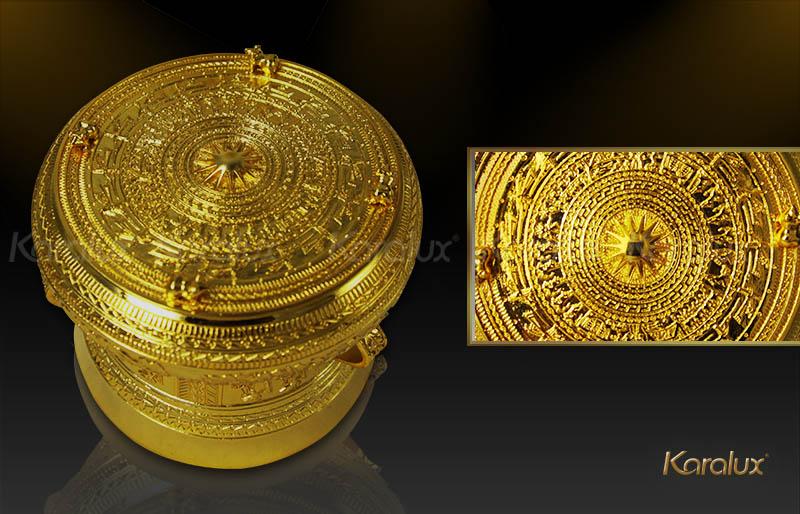 quà tặng cao cấp: Trống đồng mạ vàng 24K
