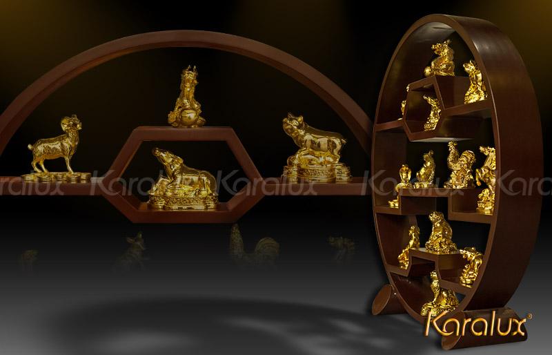 Bộ linh vật 12 con Giáp mạ vàng 24K | Giá bán các Cong giáp Phong thủy tại Hà Nội, Tp HCM