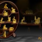Quà tặng ngày tết 2018: Bộ linh vật 12 con Giáp mạ vàng