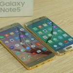 Galaxy Note 5 mạ vàng đọ dáng cùng Galaxy S6 Edge