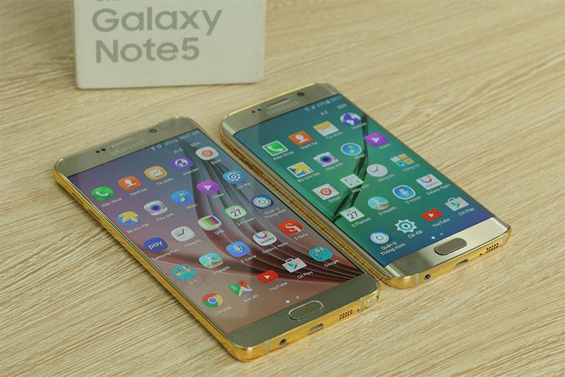 Galaxy Note 5 mạ vàng 24K đọ dáng cùng Galaxy S6 Edge