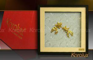 Tranh doi ca vang, bức tranh đôi cá mạ vàng 24K