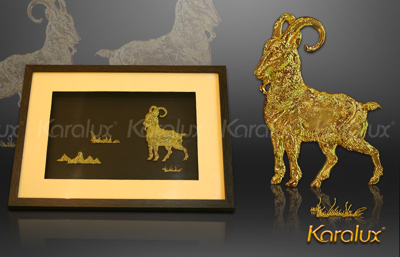 tranh de ma vang, bức tranh dê phong thủy mạ vàng 24K