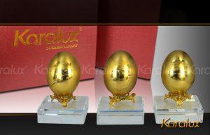 Trung vang phong thuy, quả trứng mạ vàng 24K