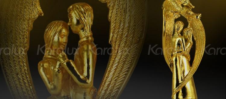Tuong doi uyen uong, đôi uyên ương phong thủy Mạ vàng 24K