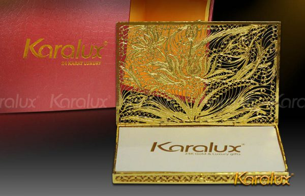 Hộp đựng danh thiếp mạ vàng 24K hình hoa sen – NC04 | Quà tặng sếp nữ ngày 20/10