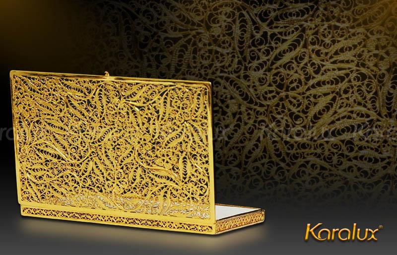 Hộp đựng Namecard mạ vàng 24K hoa tiết văn độc đáo| Quà tặng cao cấp tặng Sếp nam, nữ