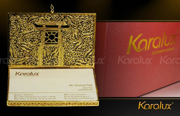 Hộp đựng danh thiếp mạ vàng 24K hình Khuê Văn Các   Quà tặng cho người nước ngoài