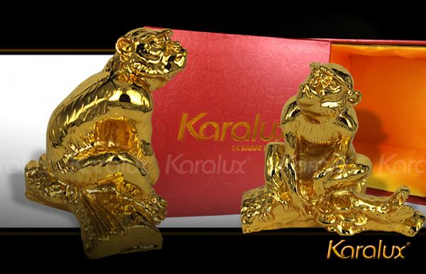 Quý linh dành cho tuổi Thân 2016: Tượng khỉ phong thủy mạ vàng 24K