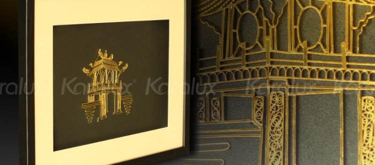 Bức tranh Khuê Văn Các mạ vàng 24K | Quà tặng biểu tượng của Hà Nội cho du khách