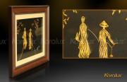 tranh thieu nu mac ao dai, cô gái việt nam mặc áo dài truyền thống mạ vàng